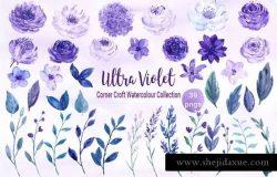 紫罗兰水彩纹理/图案合集 Watercolor Ultra Violet Collection