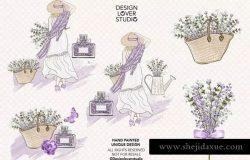 紫色薰衣草女孩水彩剪贴画设计素材