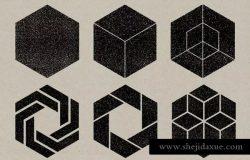 30款复古做旧效果纹理矢量印章形状