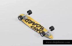 长滑板手绘图案设计样机模板