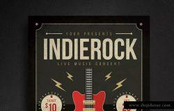 创意吉他演奏宣传海报设计素材 Guitar Poster