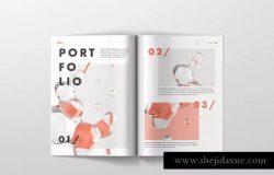 高品质A4杂志印刷品样机模板
