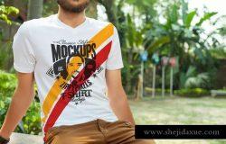 时尚男士V领T恤印花设计服装样机 Stylish V-Neck T-Shirt Mockups