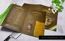 印度乡村美食菜单PSD模板套装 Indian A4 & US Letter Food Menu Bundle