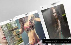 3D平板电脑屏幕网站设计演示样机 3D Tablet Screen Mockups