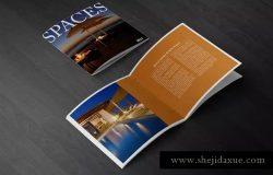 简约方形杂志宣传册样机 Square Brochure Mockups