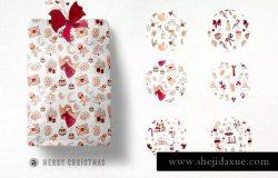 圣诞快乐水彩插图套装 Merry Christmas Watercolor Set