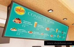 快餐店餐厅广告招牌商标样机