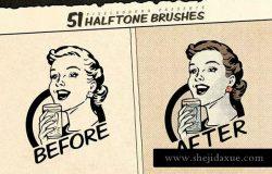 复古美式漫画效果生成Procreate笔刷 Vintage Comic Procreate Brushes
