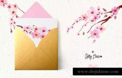 樱花水彩手绘插画设计素材