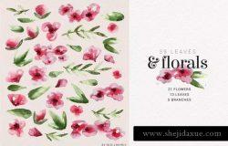 现代玫瑰水彩花卉&叶子插图素材