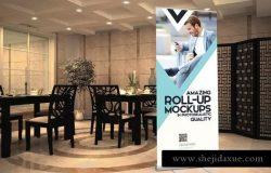 高端大厦场景易拉宝广告Banner样机模板 Roll-up Banner Mockup PSD