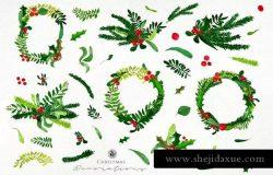 圣诞装饰绿色花环水彩插图素材 Watercolor Christmas Decorations