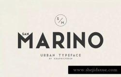现代,时尚和优雅无衬线英文字体 San Marino // Four Font Files