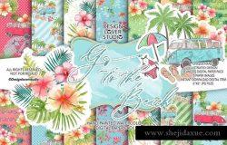 夏季海滩主题水彩花卉纸张图案背景套装
