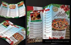 三折页意大利餐厅菜单设计PSD模板 Italian Food Menu Trifold