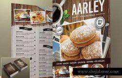 经典高档咖啡厅面包店菜单PSD模板