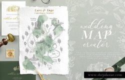 创意文艺风格婚礼邀请函地图设计素材包
