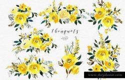宏伟磅礴水彩花卉剪贴画